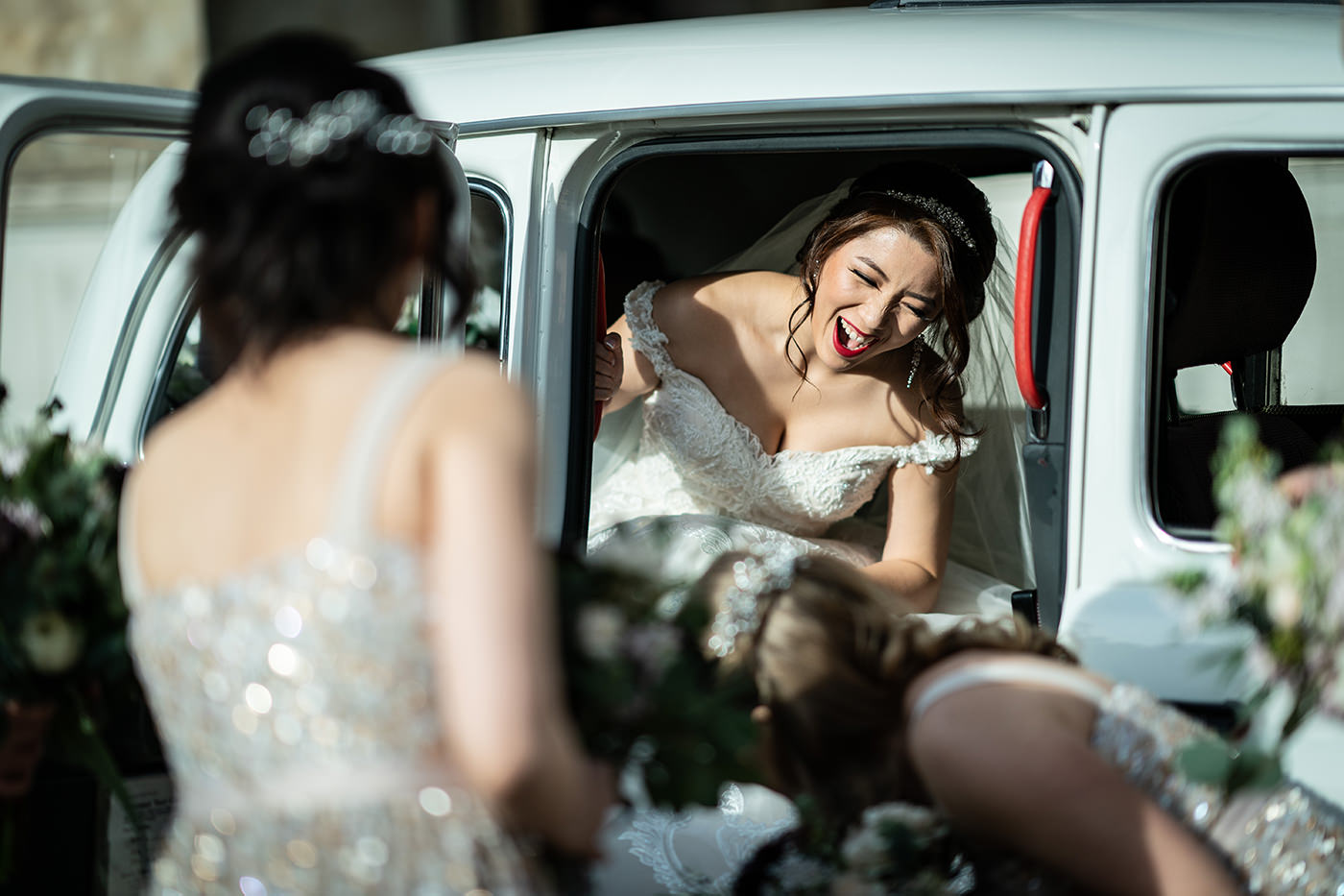 Bride Arriving London Taxi Reportage Photographer