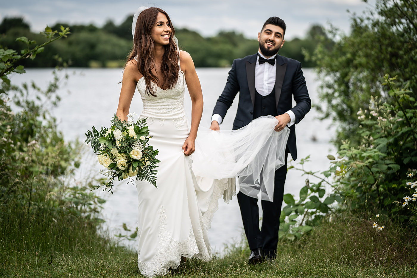 Bride and Groom by Lake in London