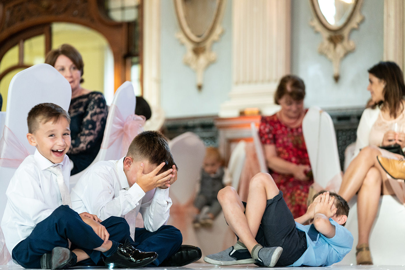 Hysterical Children at Wedding Old Finsbury Town Hall Reportage Photographer