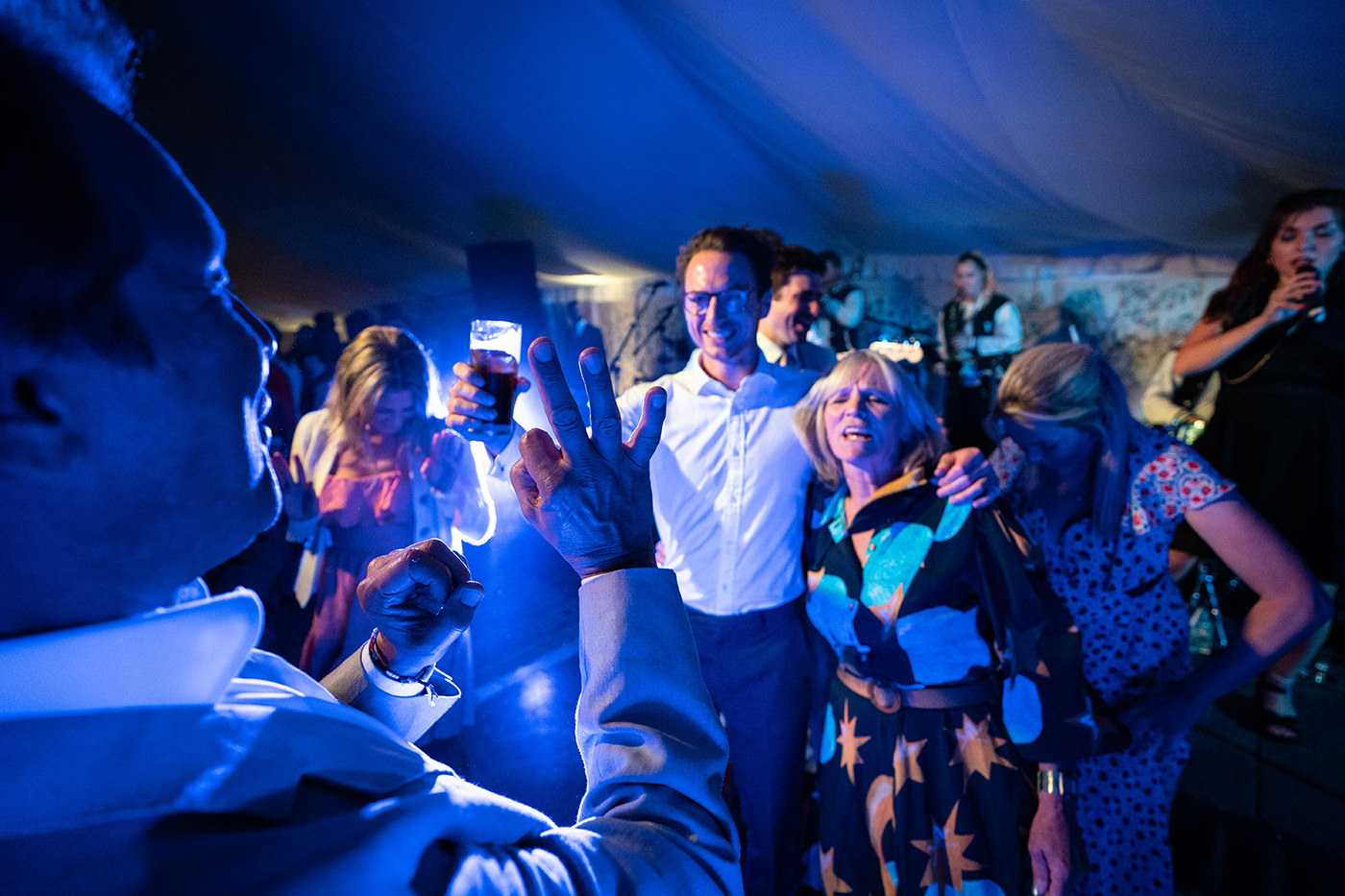 Wedding Guests Dance in Marquee Reportage Photographer