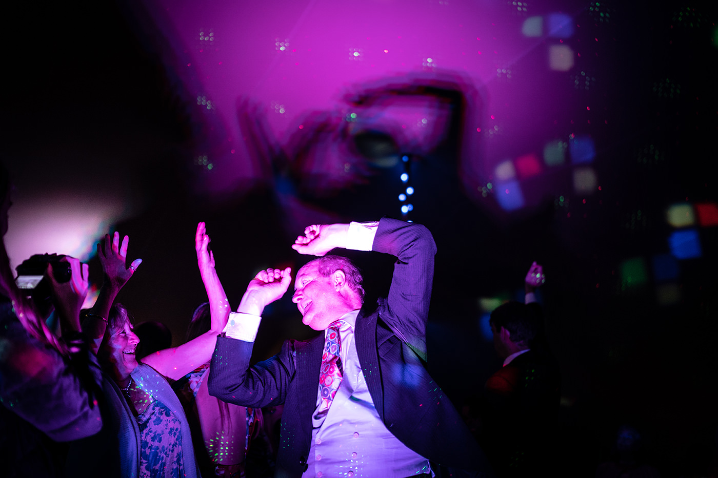 Dancing Wedding Guests Marquee Reportage Photography