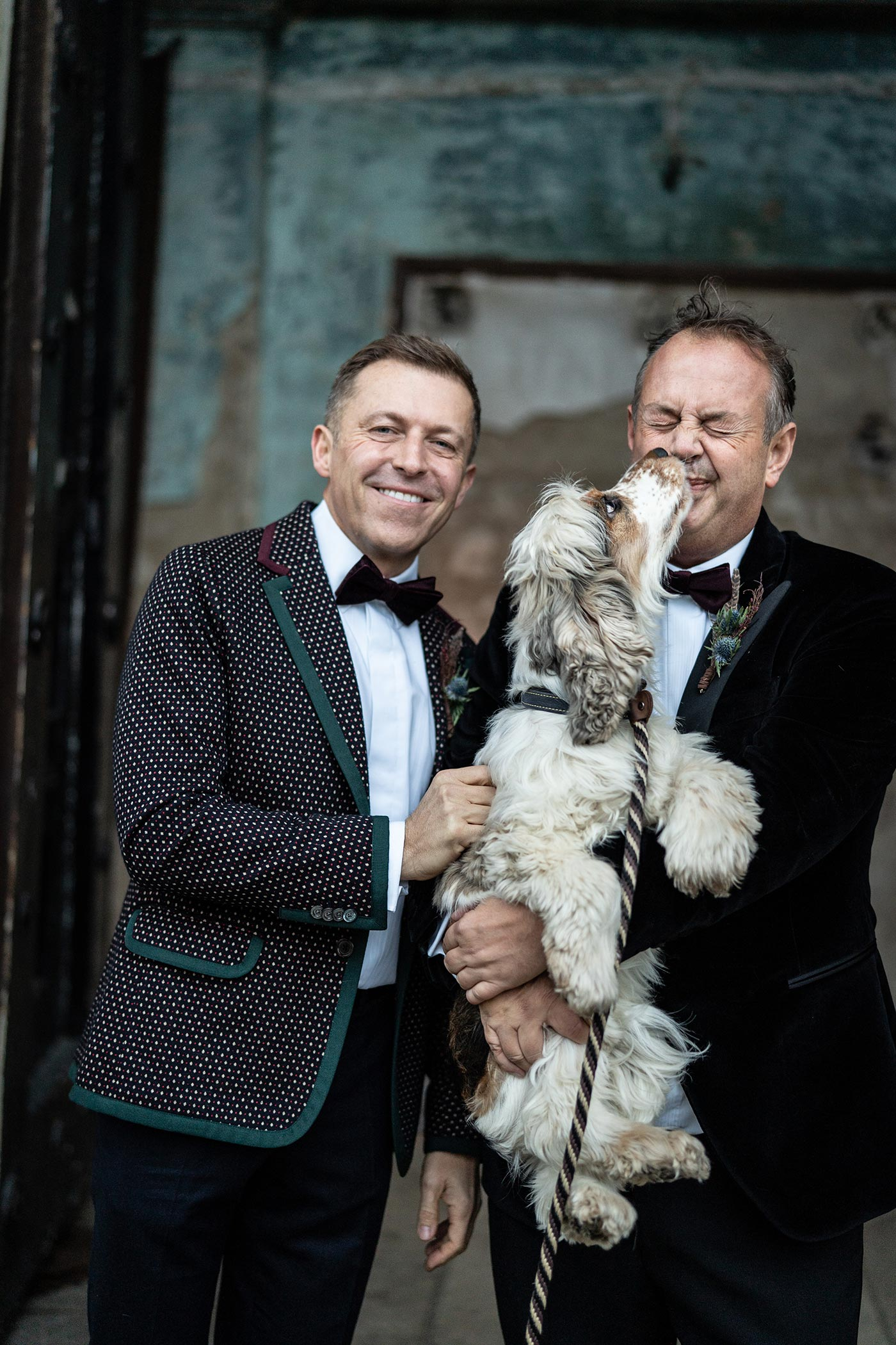 Two Grooms celebrate their wedding outside The Asylum Peckham
