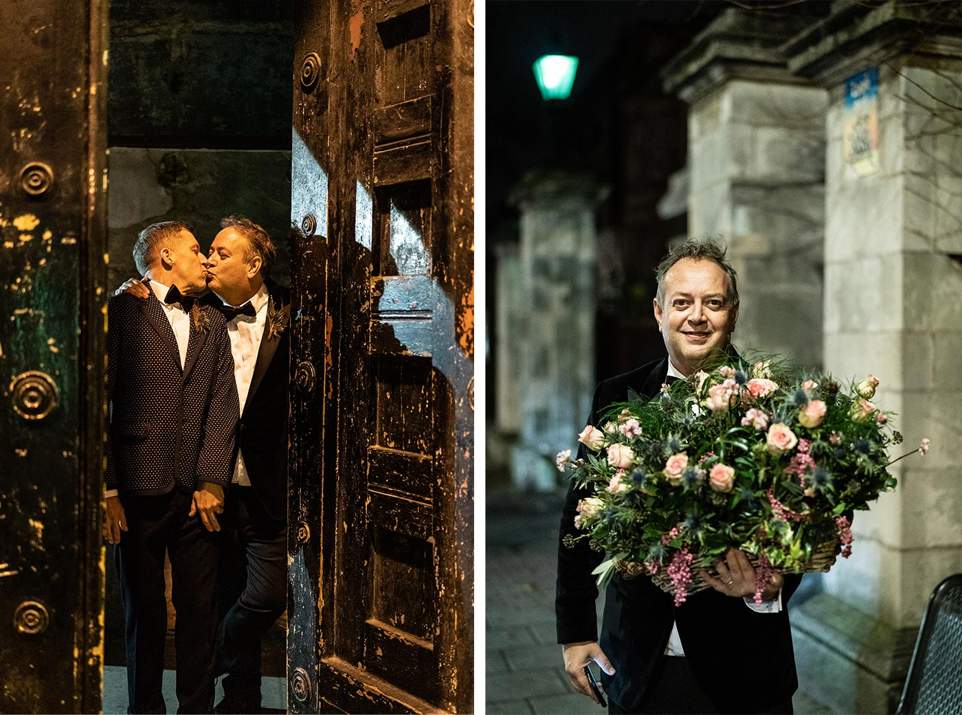 Two Grooms leave their gay wedding at The Asylum Chapel London