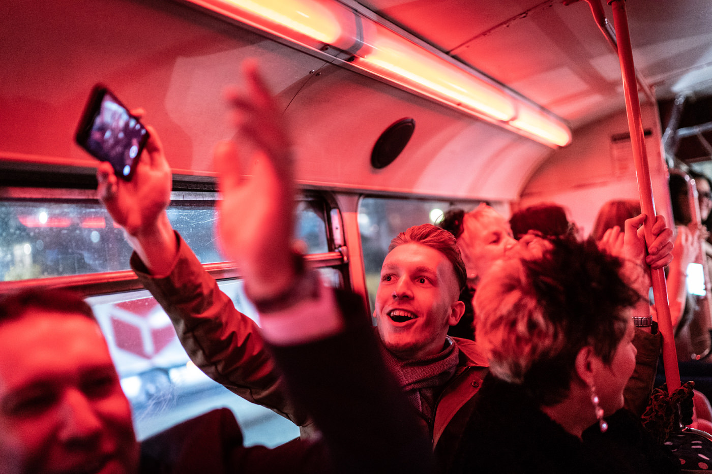 Party in a London Routemaster Bus