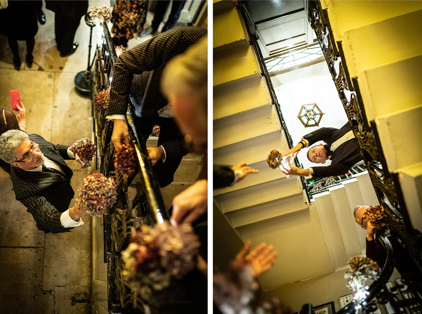 Wedding guests decorate the staircase at Brunswick House with flowers