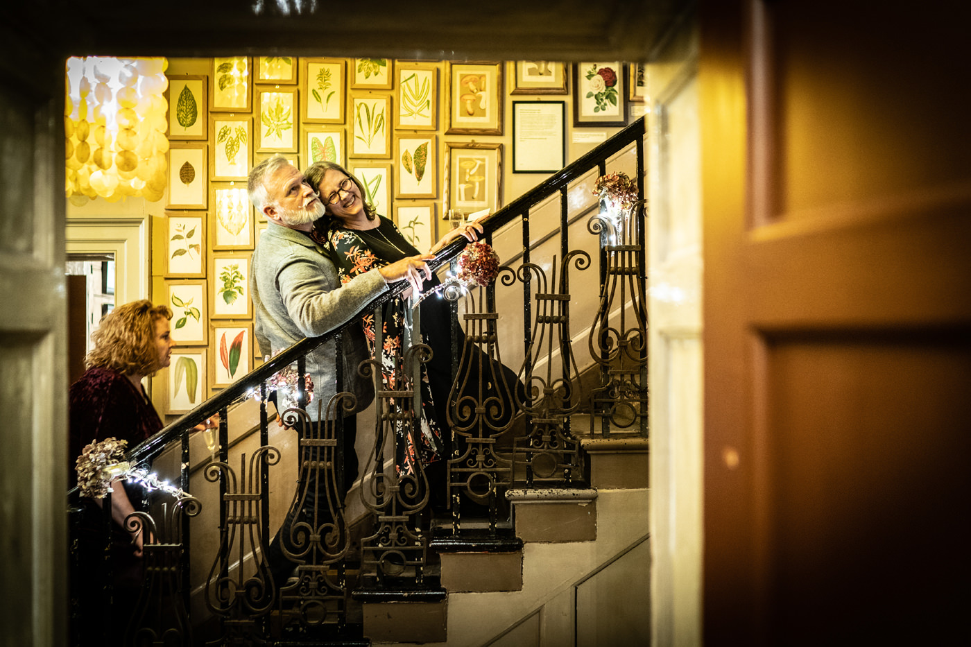 Wedding guests climb the staircase at Brunswick House
