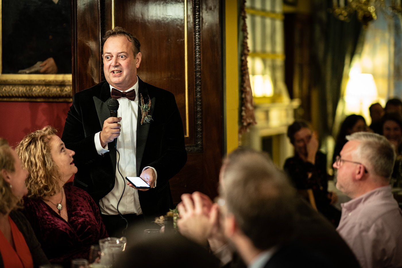 Groom begins speech upstairs at Brunswick House in London