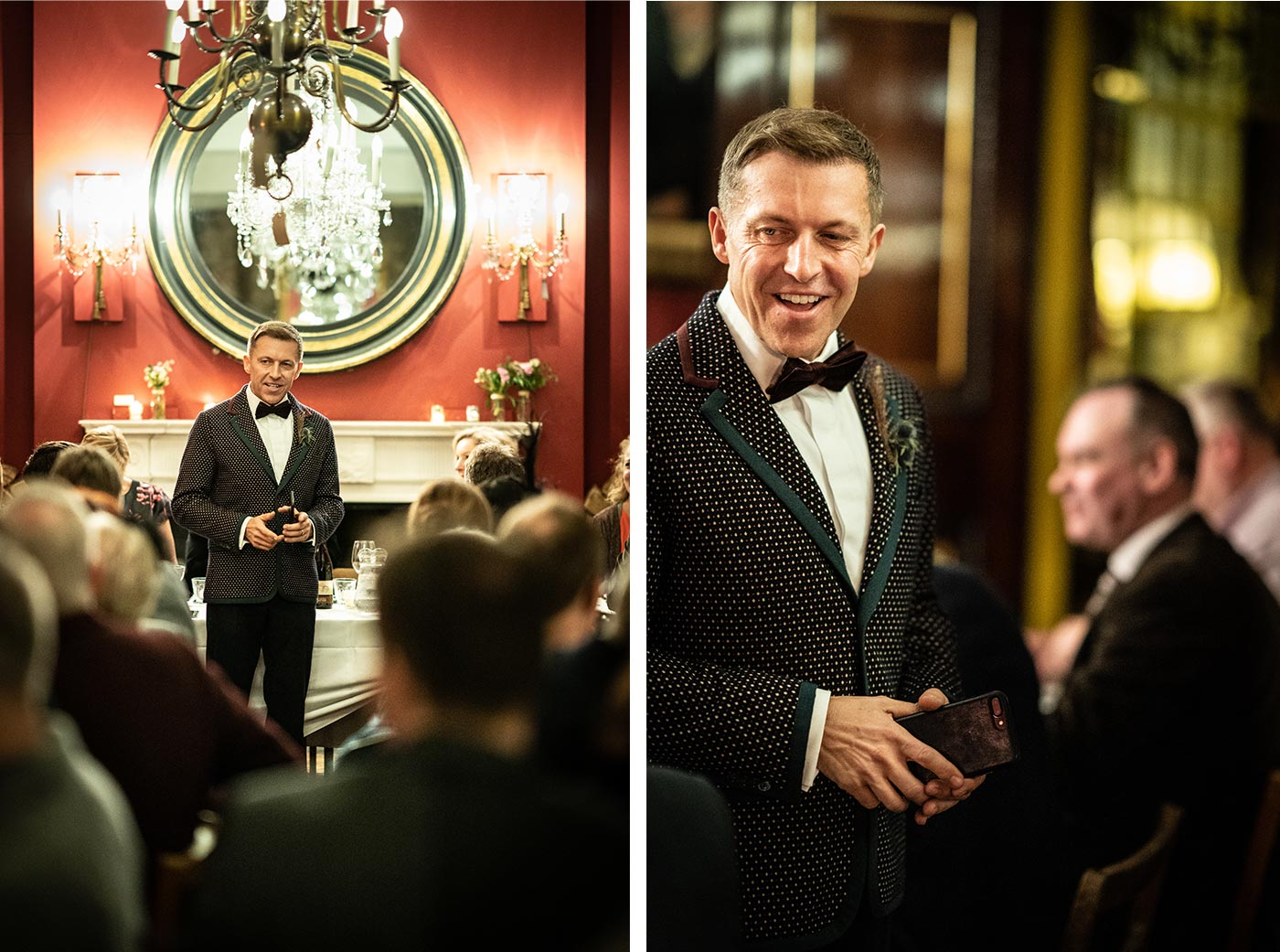 Good conducts his speech in front of a large round antique mirror atWedding guests gather for speeches upstairs at Brunswick House in London