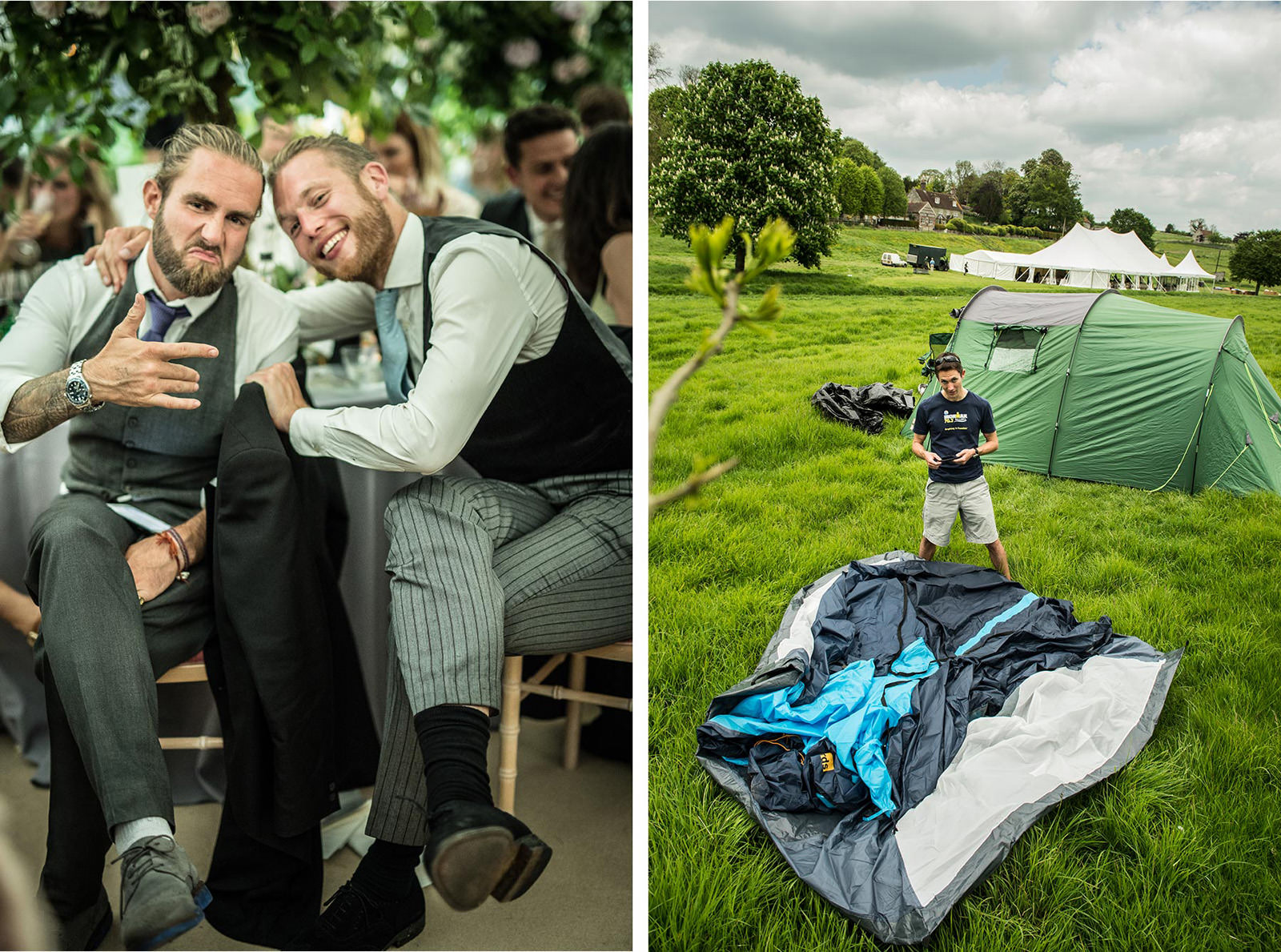 Wedding guest pitches his tent next to Dorset Marquee