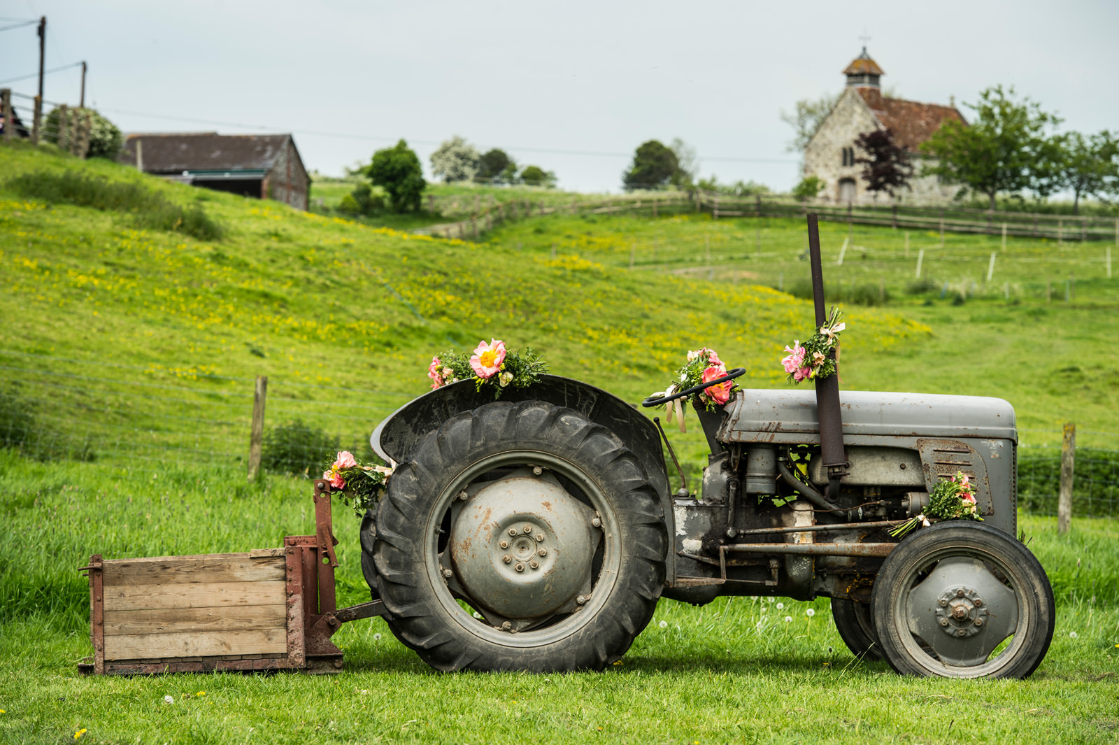 Tractor with Wedding Decorations