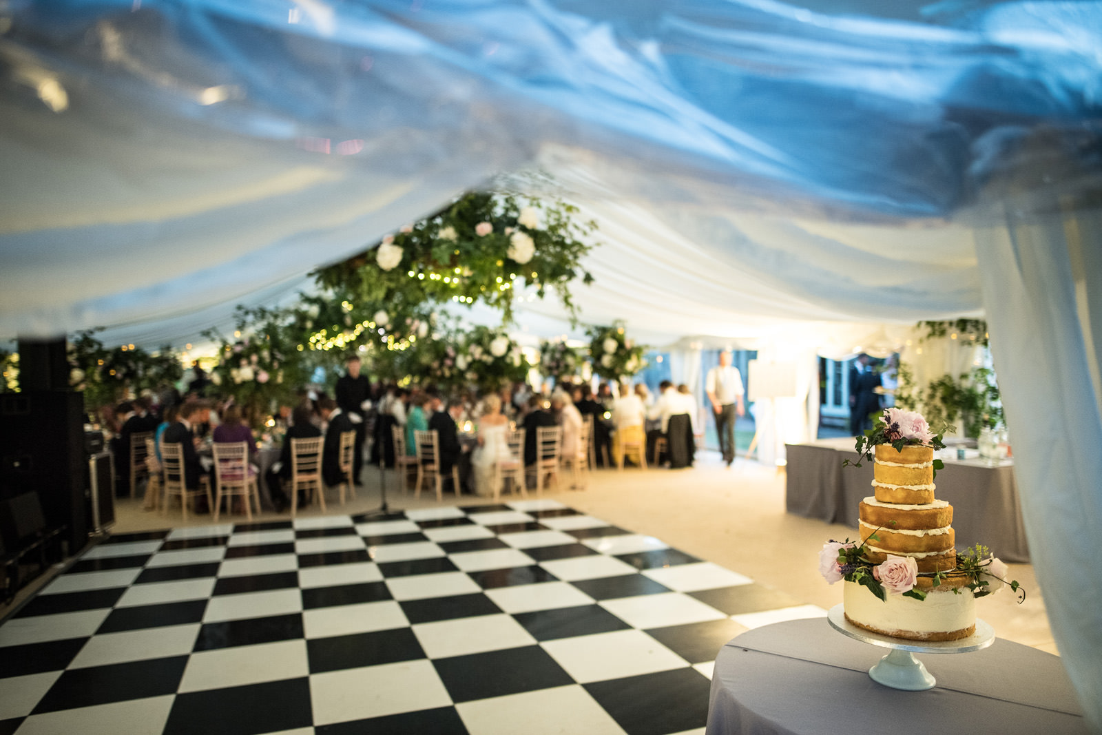 Marquee with chequered floor