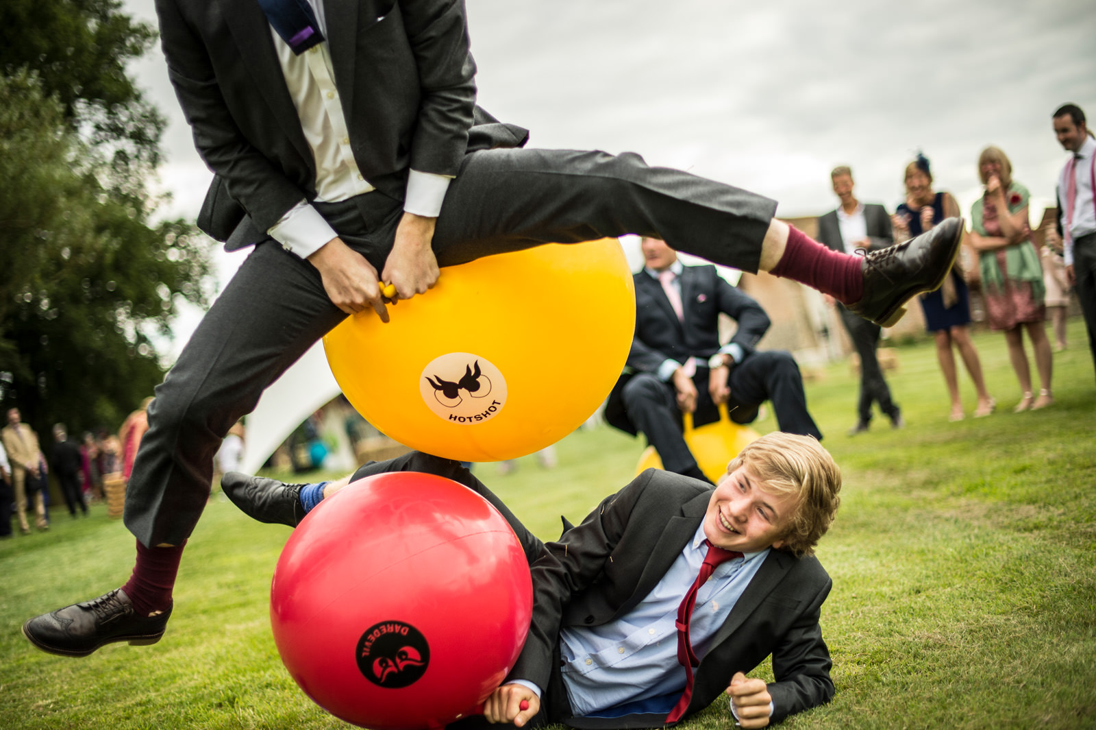 Wedding guests race on space hoppers