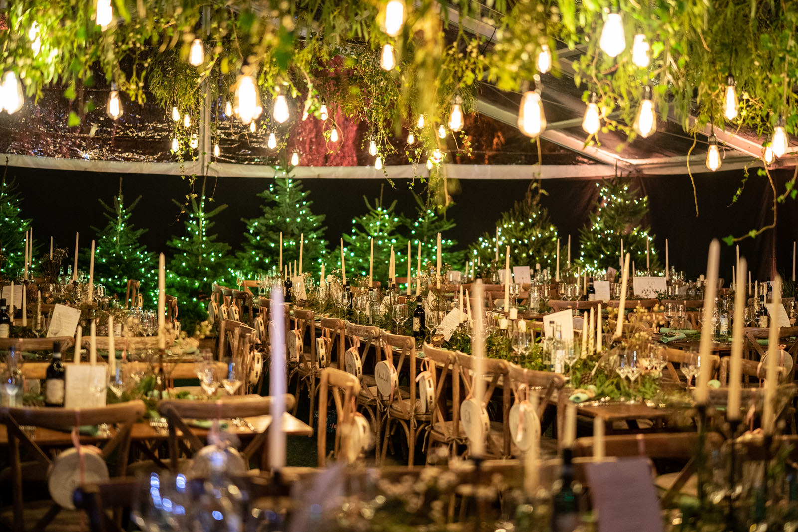 Winter wonderland wedding with Christmas Trees in a clearspan marquee