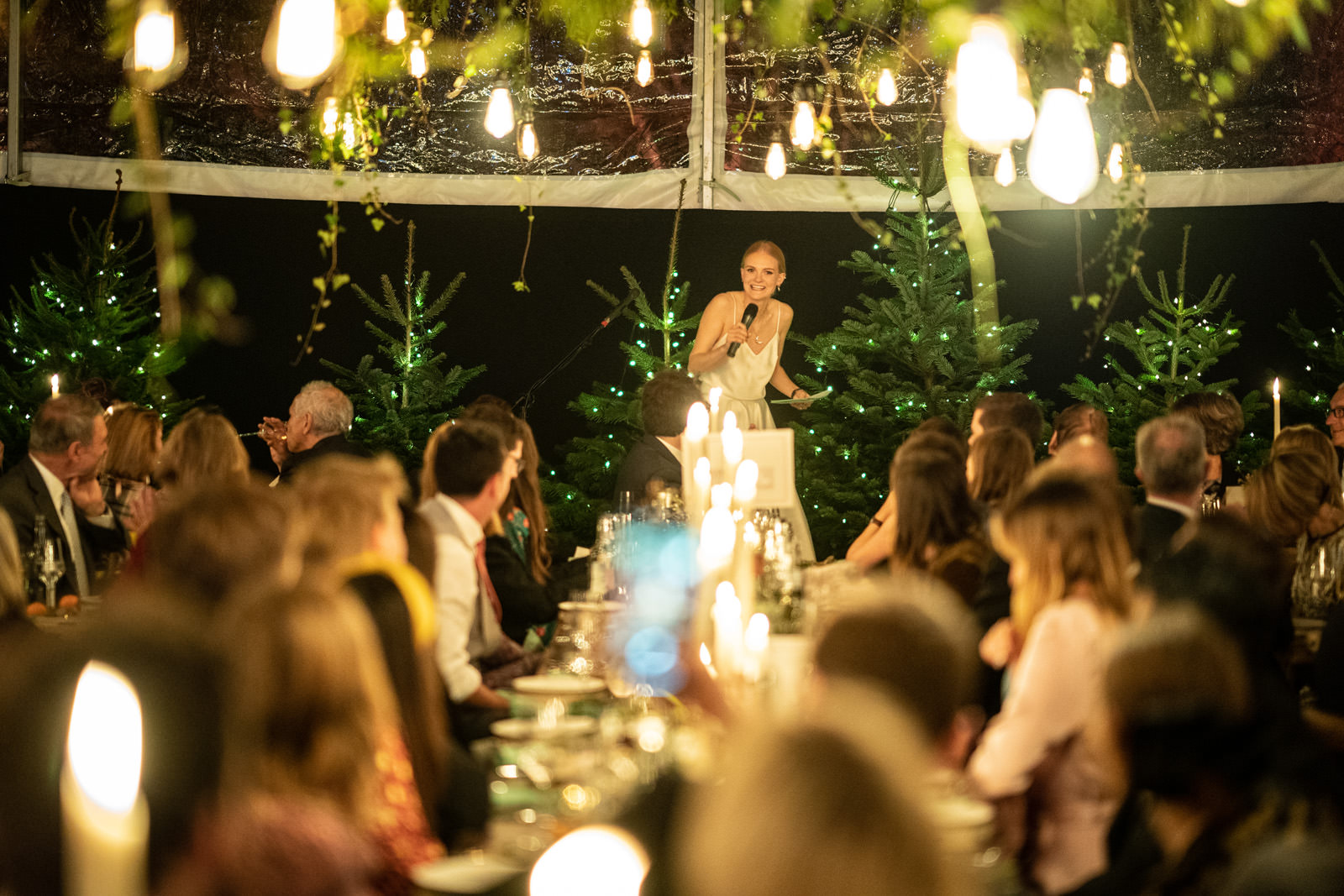 Bride gives a speech in a DP Marquee