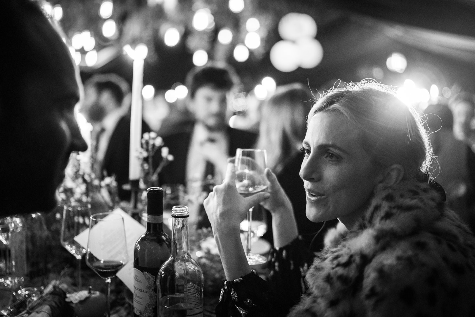 Guests talk during a winter wedding breakfast