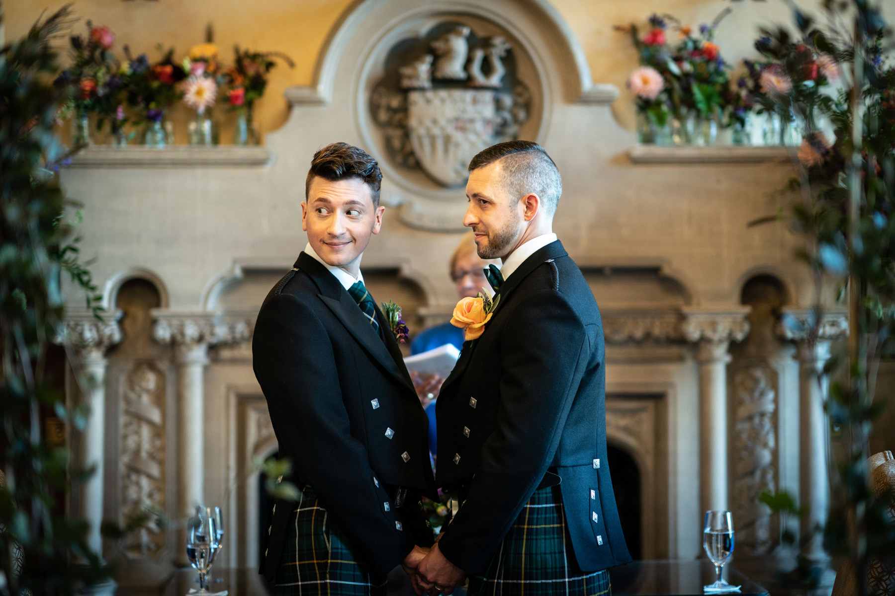 Two Grooms married in the Oak room at The Elvetham Hotel