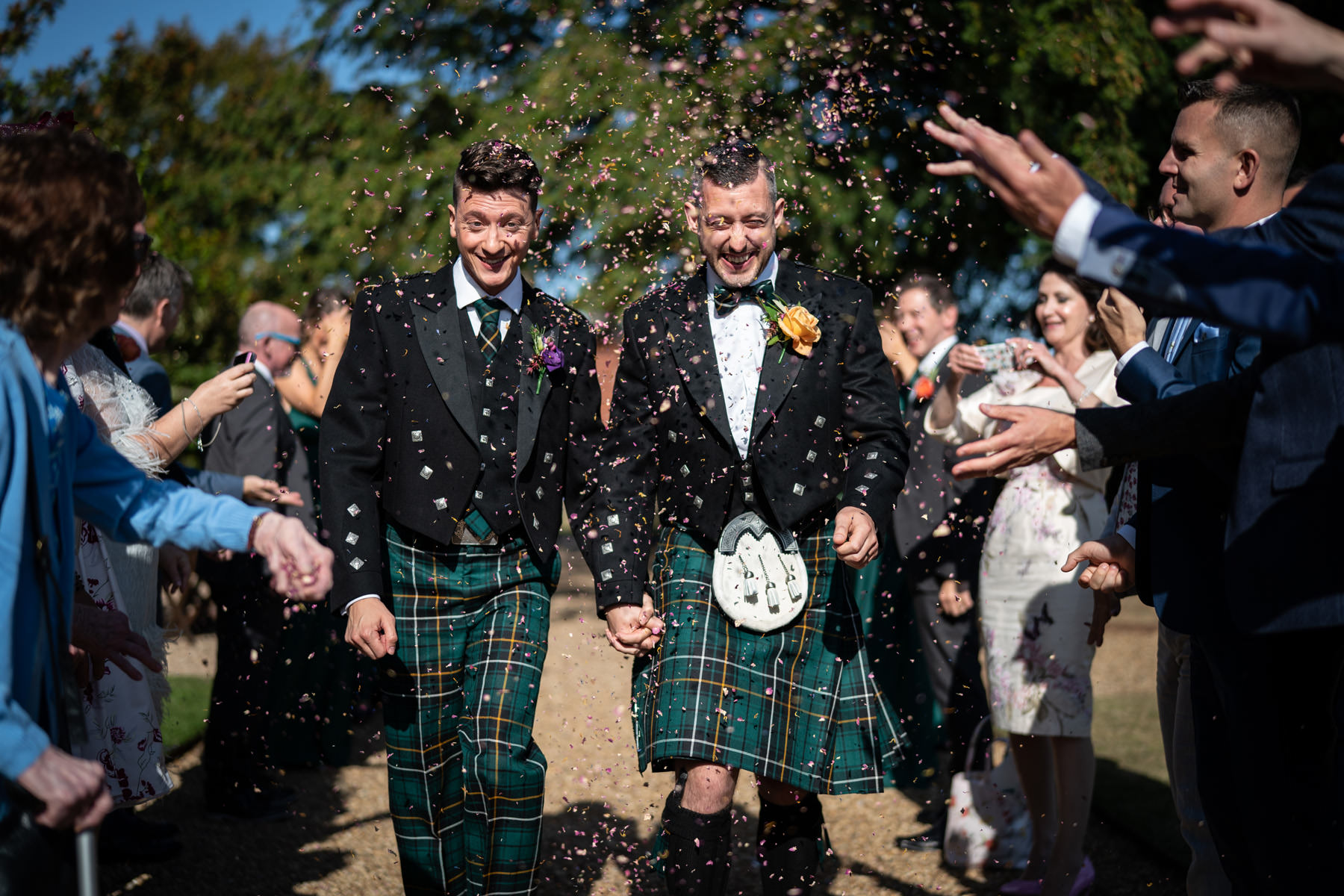 Newlywed confetti at The Elvetham Hotel