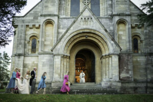 Bride arrives St Benets Minister Catholic Church Beccles