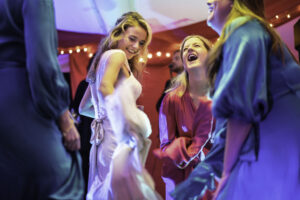 Wedding dance in colourful marquee