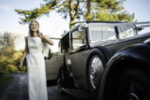 Bride Arrives in a Rolls Royce