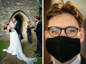 Wedding guest with steamed up glasses and a mask