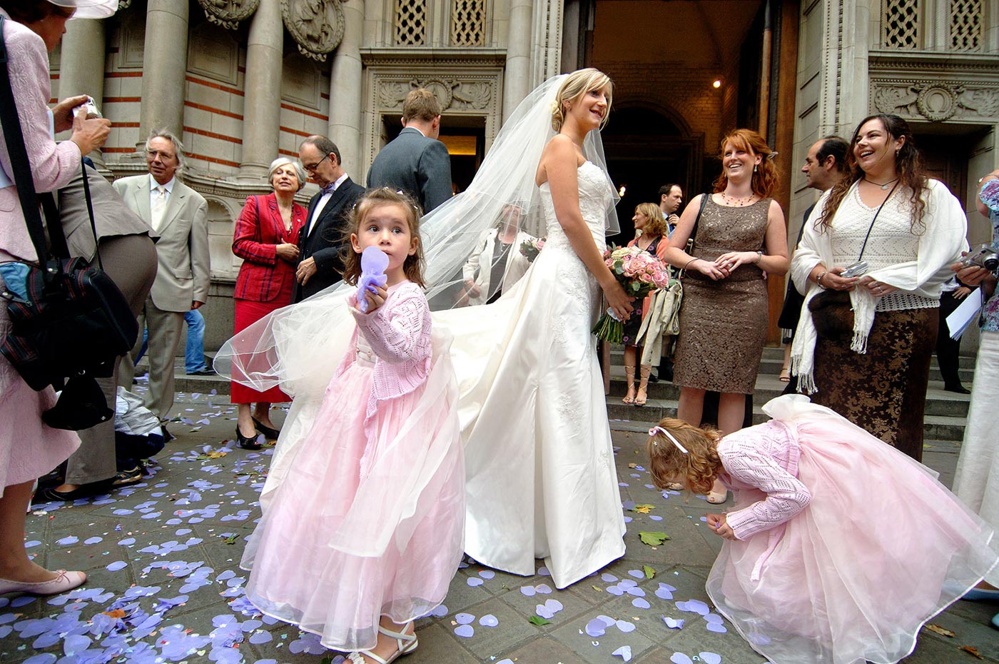 Wedding Confetti Photographs Westminster Cathedral - Harry Richards Photography